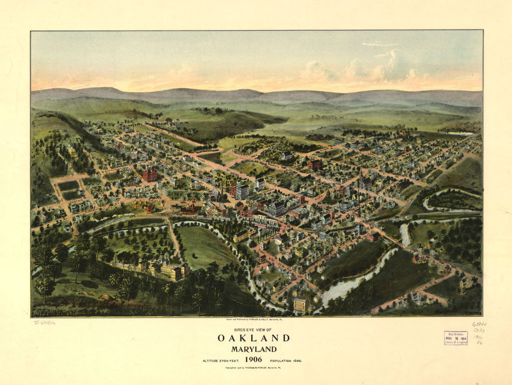 8 x 12 Reproduced Photo of Vintage Old Perspective Birds Eye View Map or Drawing of: Oakland, Maryland 1906.  Fowler & Kelly - Fowler, T. M.  1906
