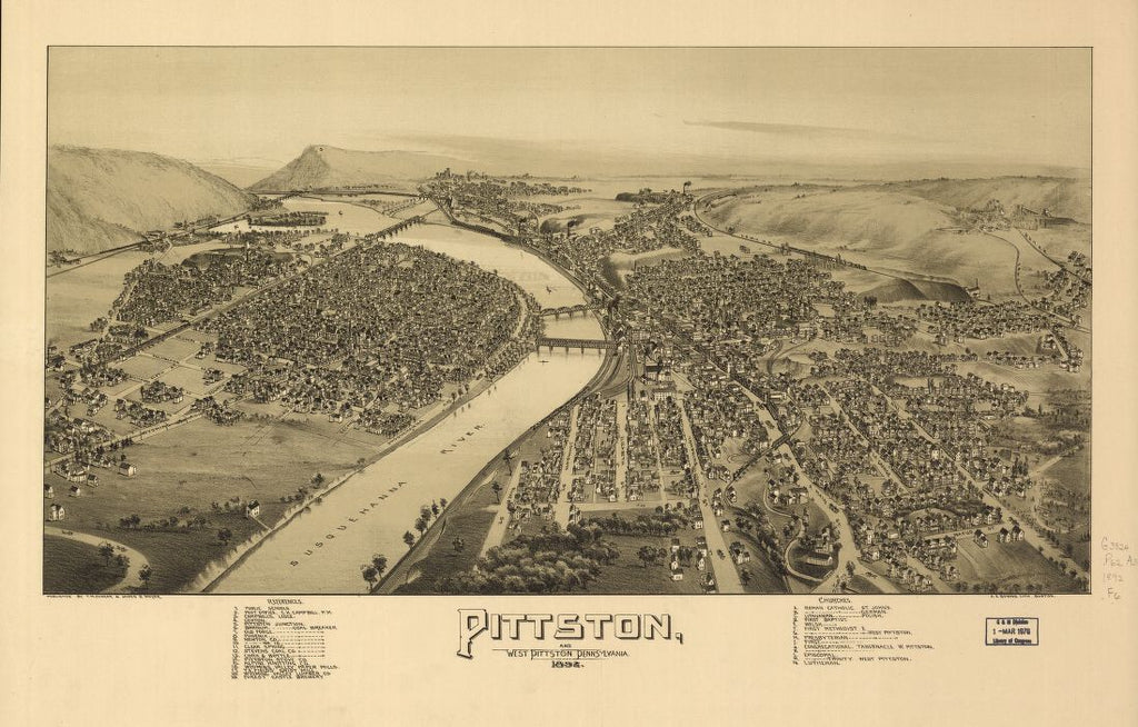 8 x 12 Reproduced Photo of Vintage Old Perspective Birds Eye View Map or Drawing of: Pittston and West Pittston, Pennsylvania. Fowler, T. M. - Moyer, James - Downs, A. E. (Albert E.) - Fowler, T. M. 1892