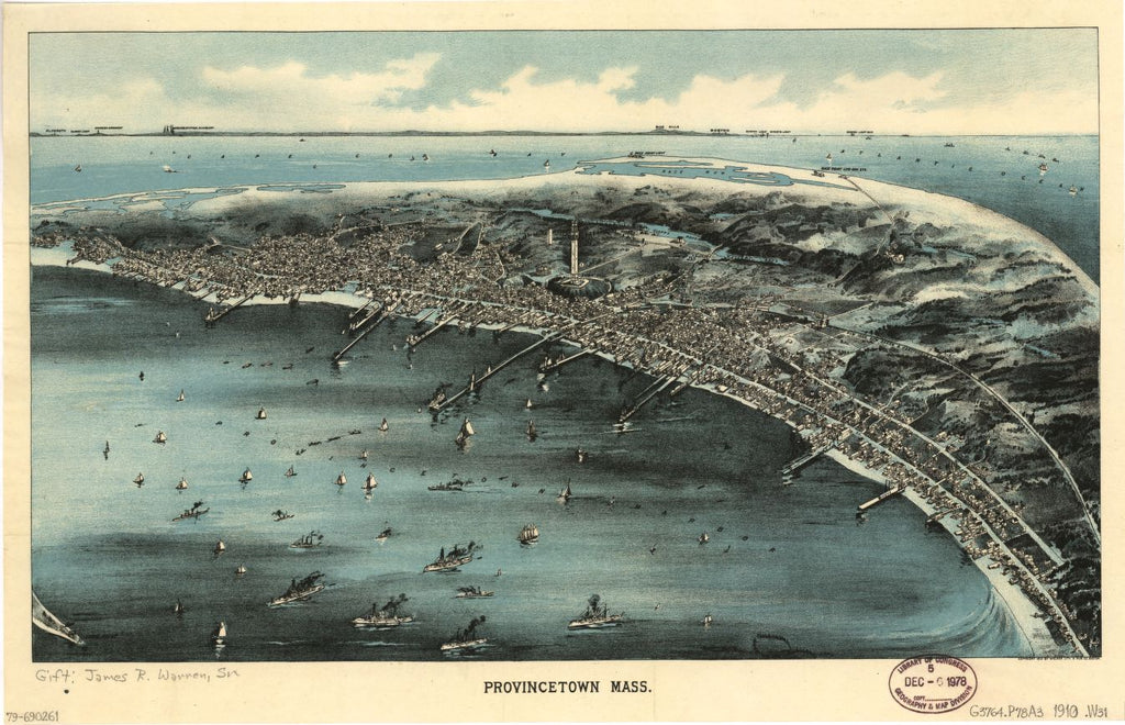8 x 12 Reproduced Photo of Vintage Old Perspective Birds Eye View Map or Drawing of: Provincetown, Mass.  Walker Lith. & Pu Co.  1910