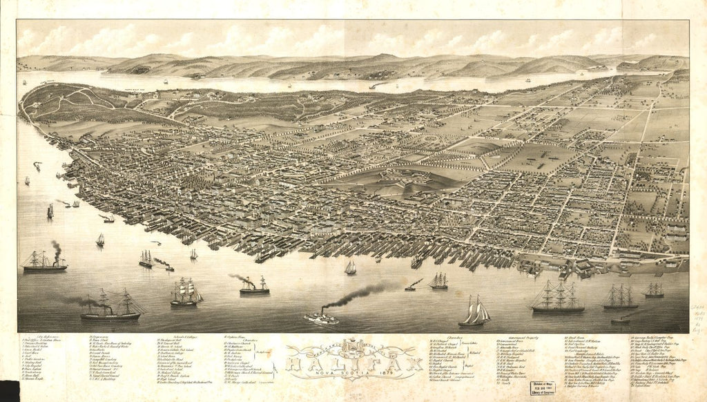 8 x 12 Reproduced Photo of Vintage Old Perspective Birds Eye View Map or Drawing of: Panoramic Halifax, Nova Scotia 1879.   Ruger, A.  1879