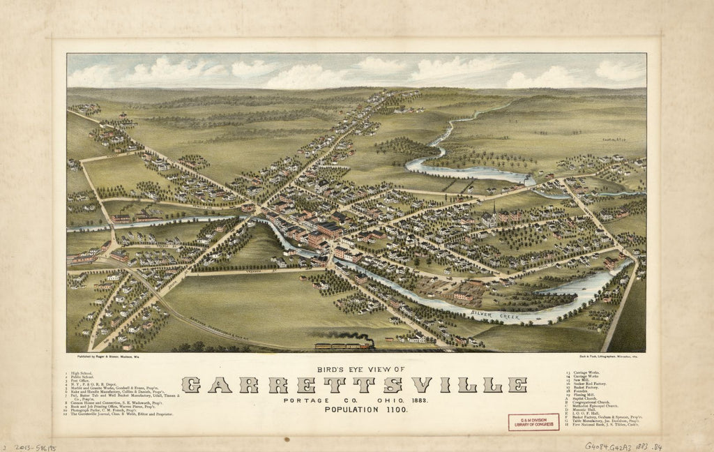 8 x 12 Reproduced Photo of Vintage Old Perspective Birds Eye View Map or Drawing of: Garrettsville, Portage Co. Ohio 1883 : population 1100. Beck & Pauli. 1883
