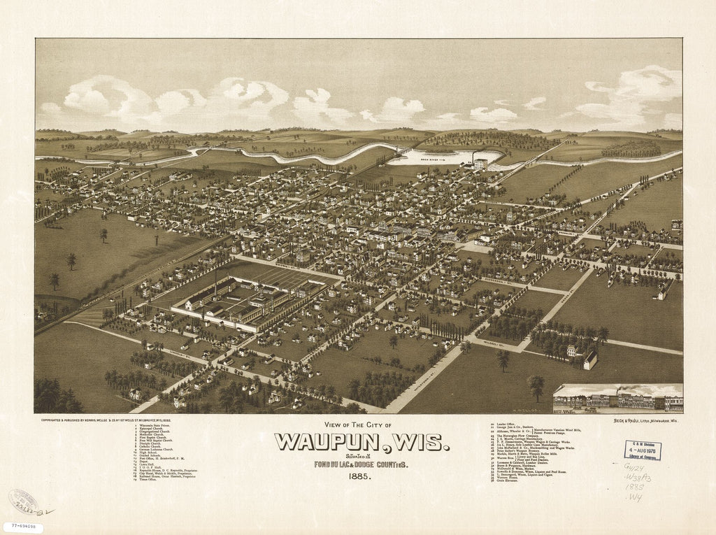 8 x 12 Reproduced Photo of Vintage Old Perspective Birds Eye View Map or Drawing of: Waupun, Wis., situated in Fond du Lac & Dodge Counties. Wellge, H. (Henry) c1885