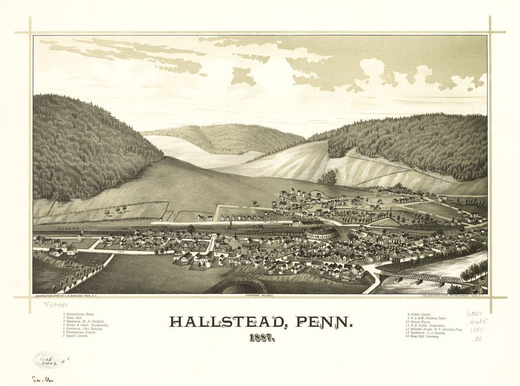 8 x 12 Reproduced Photo of Vintage Old Perspective Birds Eye View Map or Drawing of: Hallstead, Penn. 1887. Burleigh, L. R. (Lucien R.) - Burleigh Litho - Burleigh, L. R. 1887