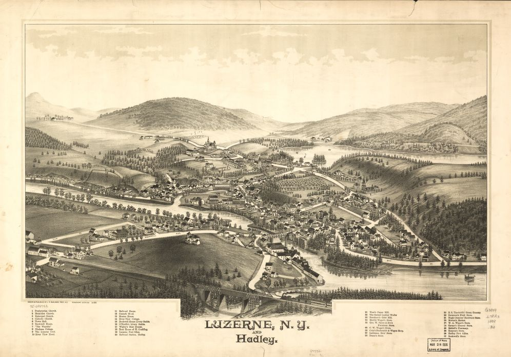 8 x 12 Reproduced Photo of Vintage Old Perspective Birds Eye View Map or Drawing of: Luzerne, N.Y. and Hadley. Burleigh, L. R. (Lucien R.) - Burleigh, L. R. 1888