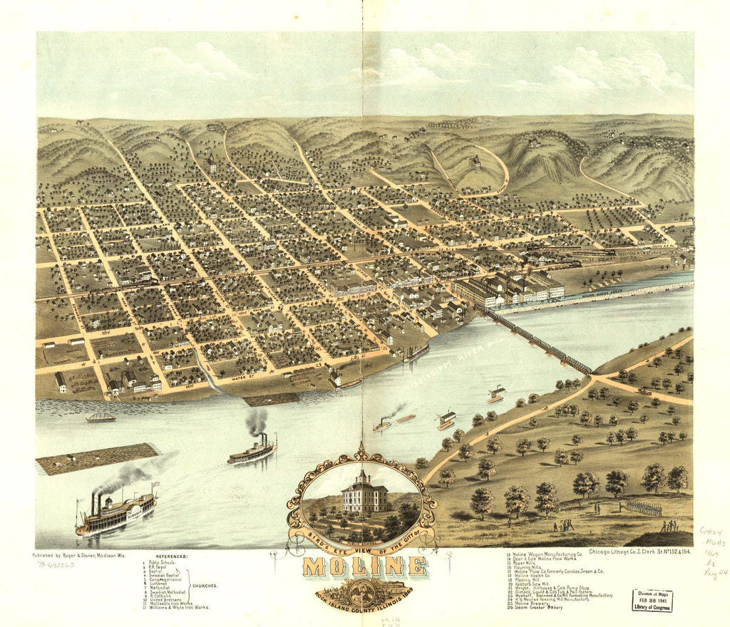 8 x 12 Reproduced Photo of Vintage Old Perspective Birds Eye View Map or Drawing of: Moline, Rock Island County, Illinois 1869. Ruger, A. 1869