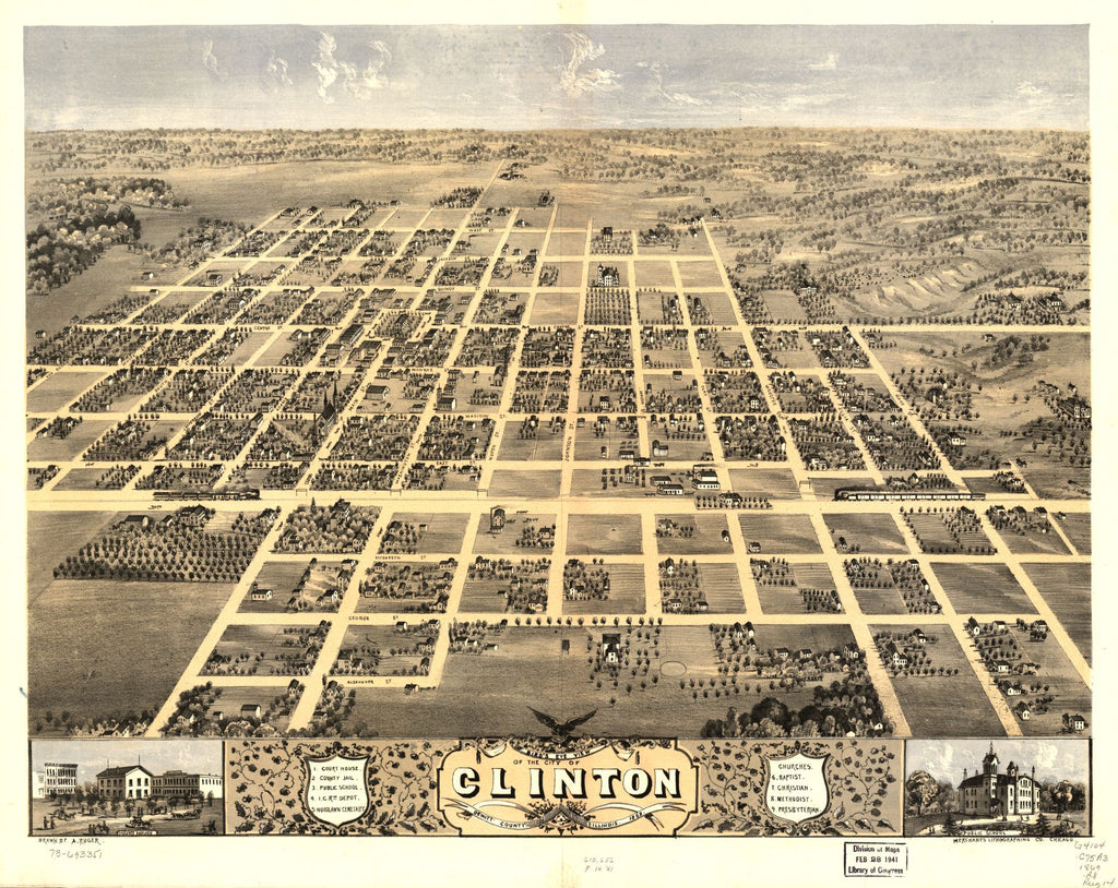 8 x 12 Reproduced Photo of Vintage Old Perspective Birds Eye View Map or Drawing of: Clinton, DeWitt County, Illinois 1869. Ruger, A. 1869
