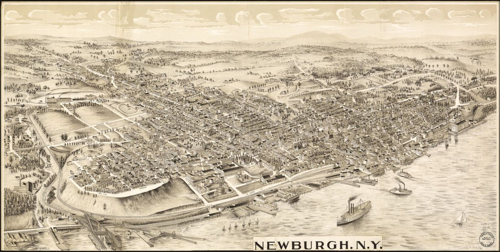 8 x 12 Reproduced Photo of Vintage Old Perspective Birds Eye View Map or Drawing of: Newburgh, N.Y. Hughes, T. J. 1900