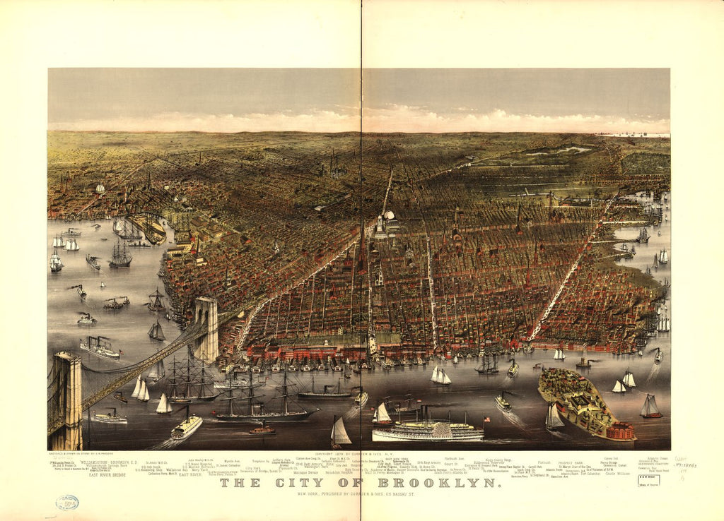 8 x 12 Reproduced Photo of Vintage Old Perspective Birds Eye View Map or Drawing of: Brooklyn. Parsons, Charles R. (Charles Richard) - Currier & Ives - Parsons, Charles R. 1879