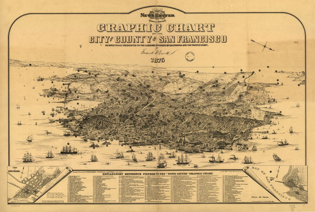 8 x 12 Reproduced Photo of Vintage Old Perspective Birds Eye View Map or Drawing of: Graphic chart of the city and county of San Francisco Marriott, Frederick. c1875