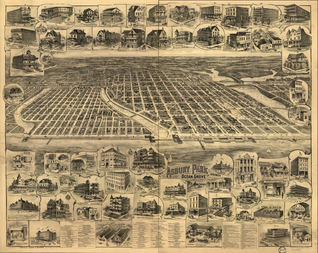 8 x 12 Reproduced Photo of Vintage Old Perspective Birds Eye View Map or Drawing of: Asbury Park, Ocean Grove and vicinity, New Jersey 1897. Landis and Hughes 1897