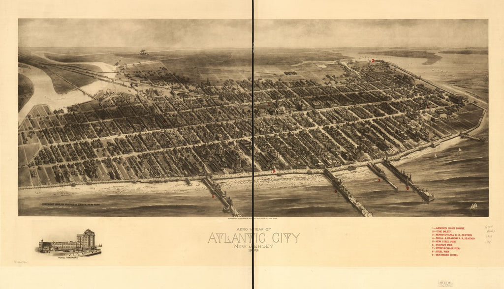 8 x 12 Reproduced Photo of Vintage Old Perspective Birds Eye View Map or Drawing of: Atlantic City, New Jersey 1909. Hughes & Bailey 1909