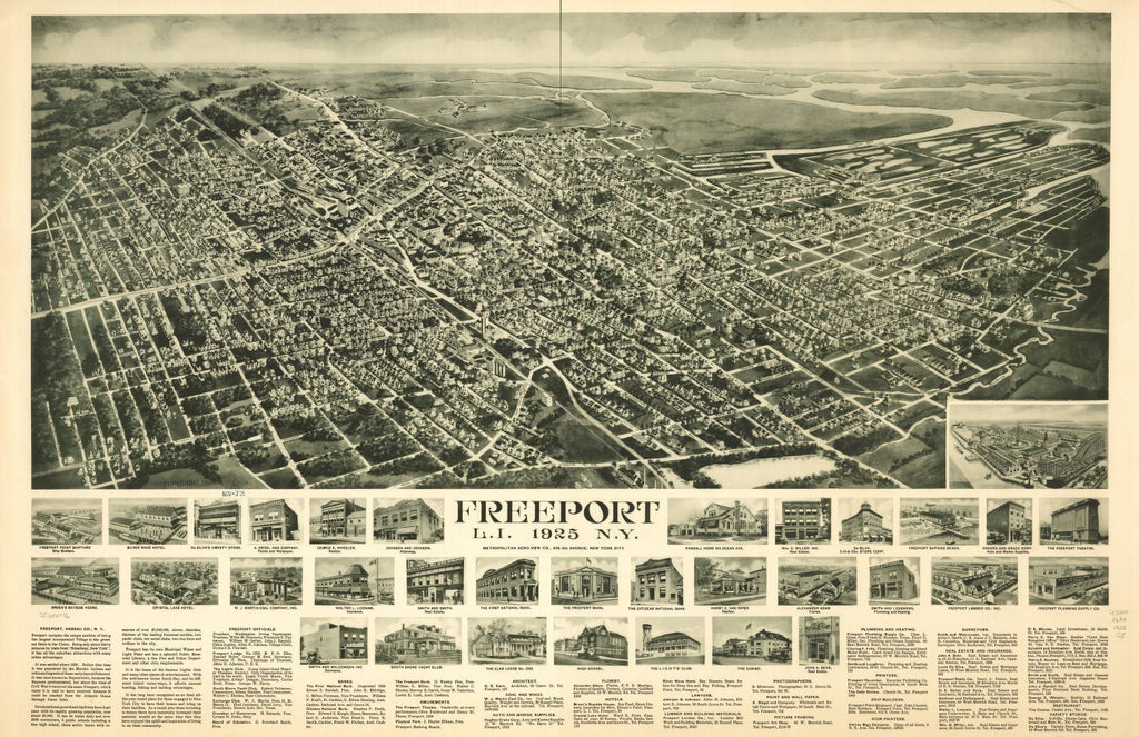 8 x 12 Reproduced Photo of Vintage Old Perspective Birds Eye View Map or Drawing of: Freeport, L.I., 1925, N.Y. Cinquin, Rene - Metropolitan Aero-View Co. 1925