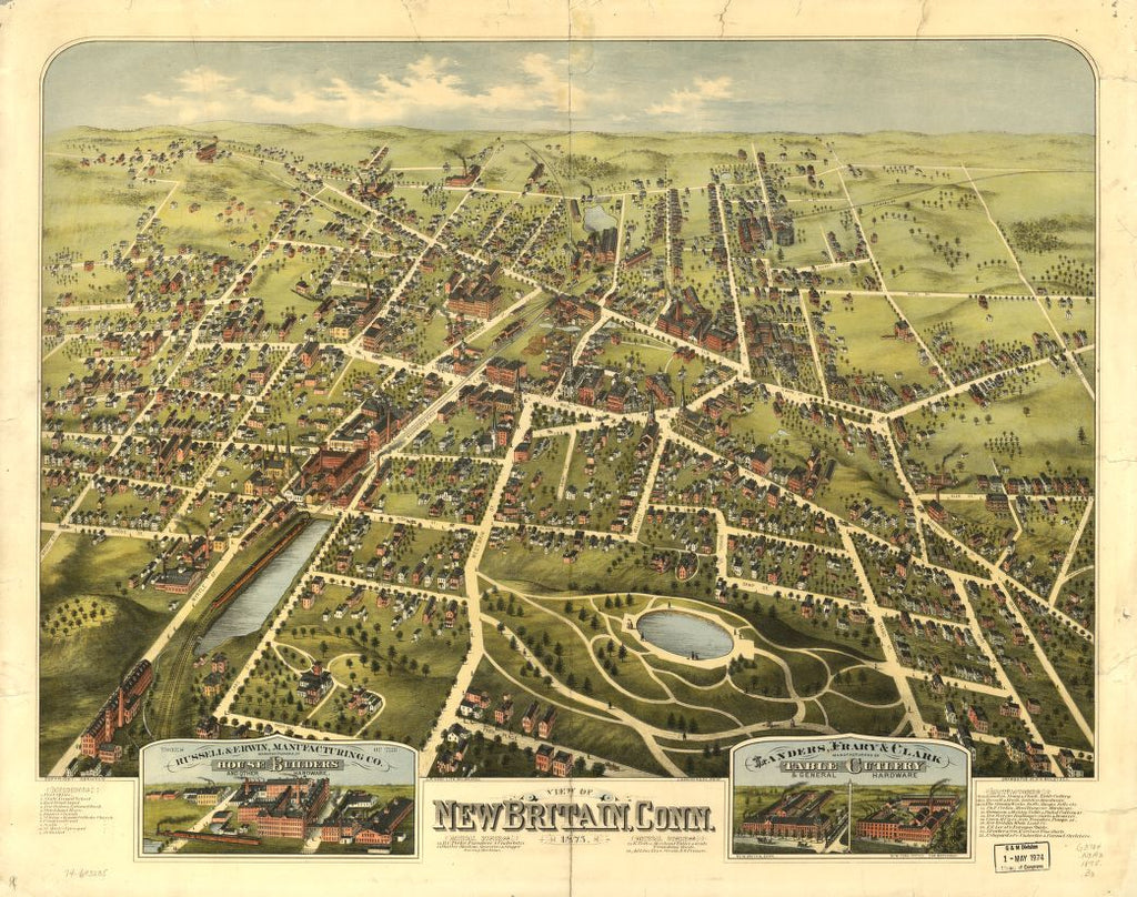 8 x 12 Reproduced Photo of Vintage Old Perspective Birds Eye View Map or Drawing of: New Britain, Conn. 1875.  O.H. Bailey & Co. - C.H. Vogt (Firm) - J. Knauber & Co.  1875