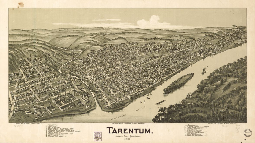 8 x 12 Reproduced Photo of Vintage Old Perspective Birds Eye View Map or Drawing of: Tarentum, Allegheny County, Pennsylvania, 1901.  Fowler, T. M. - Moyer, James - Fowler, T. M. 1901