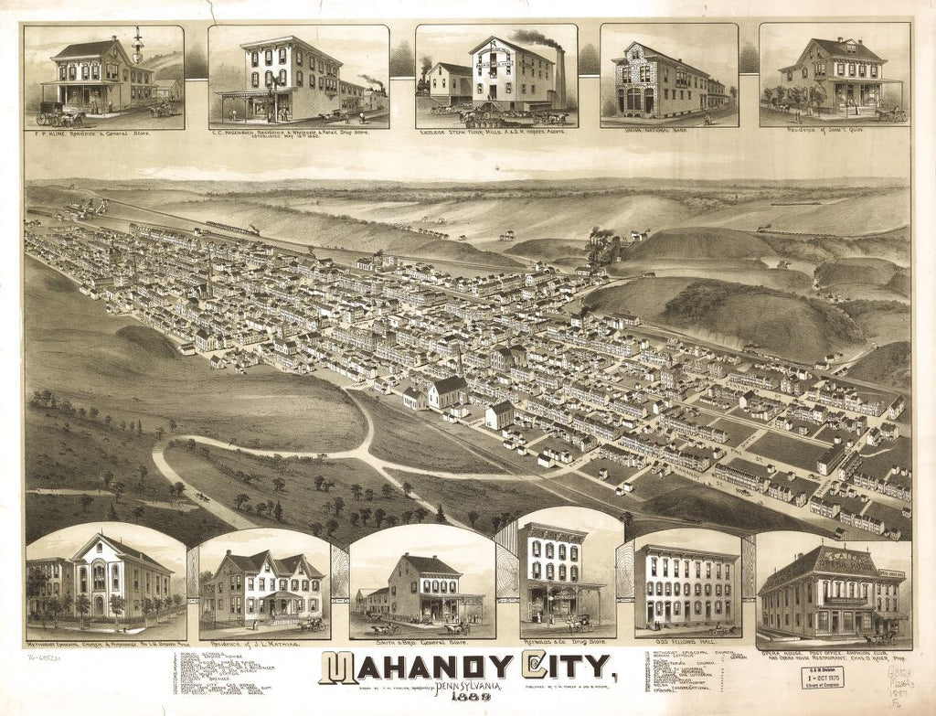 8 x 12 Reproduced Photo of Vintage Old Perspective Birds Eye View Map or Drawing of: Mahanoy City, Pennsylvania. Fowler, T. M. - Moyer, James - Fowler, T. M. 1889