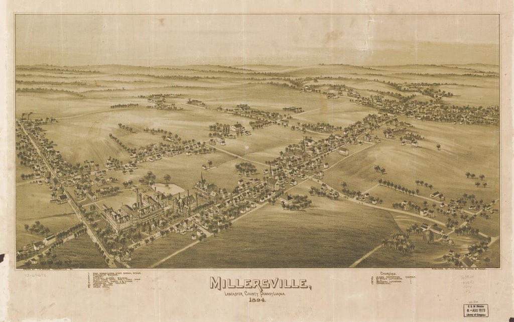 8 x 12 Reproduced Photo of Vintage Old Perspective Birds Eye View Map or Drawing of: Millersville, Lancaster County, Pennsylvania 1894. Fowler, T. M. - Moyer, James - Fowler, T. M. 1894