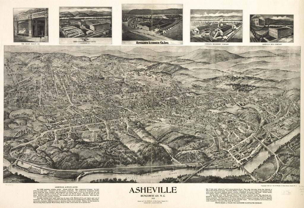 8 x 12 Reproduced Photo of Vintage Old Perspective Birds Eye View Map or Drawing of: Asheville, Buncombe Co. N.C. 1912. Fowler, T. M. (Thaddeus Mortimer), 1842-1922.Charles Hart Litho. c1912.