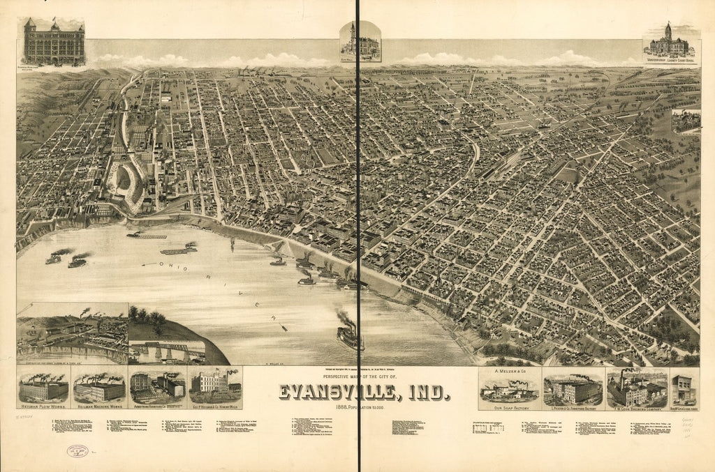8 x 12 Reproduced Photo of Vintage Old Perspective Birds Eye View Map or Drawing of: Evansville, Ind. 1888. Wellge, H. (Henry) c1888