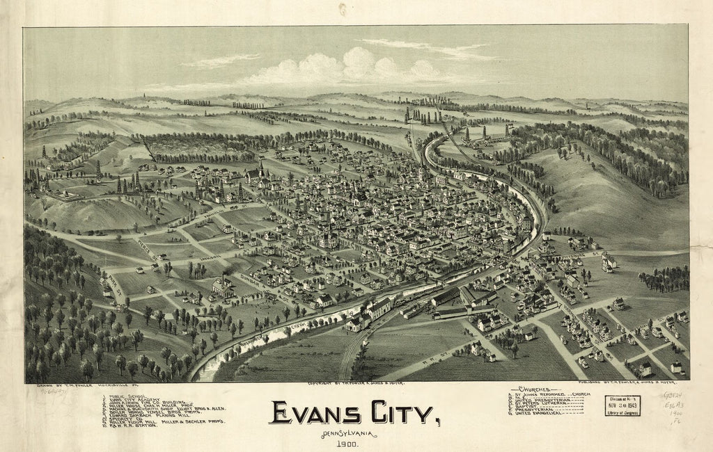 8 x 12 Reproduced Photo of Vintage Old Perspective Birds Eye View Map or Drawing of: Evans City, Pennsylvania 1900. Fowler, T. M. - Moyer, James - Fowler, T. M. 1900