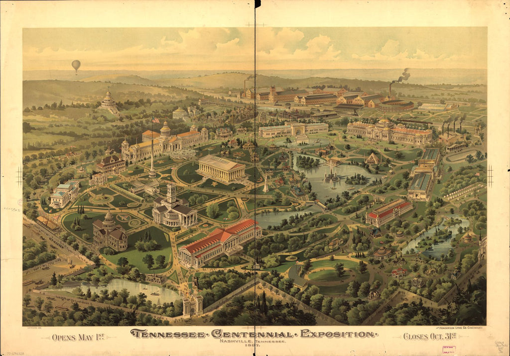 8 x 12 Reproduced Photo of Vintage Old Perspective Birds Eye View Map or Drawing of: Tennessee Centennial Exposition, Nashville, Tennessee, 1897. NONE c1896.