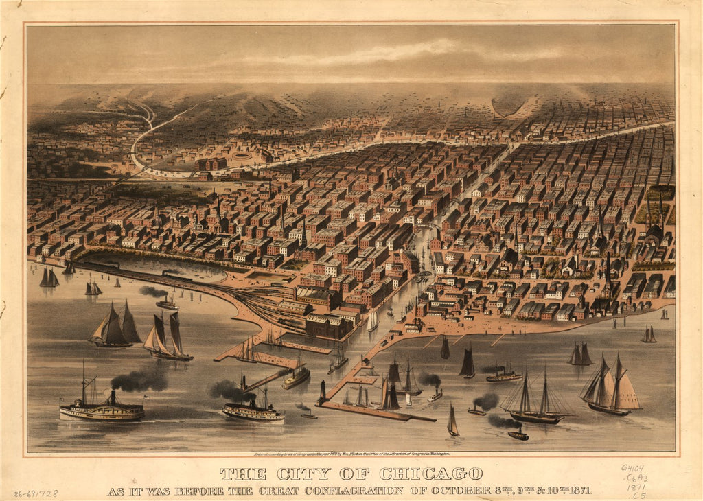 8 x 12 Reproduced Photo of Vintage Old Perspective Birds Eye View Map or Drawing of: Chicago as it was before the great conflagration of October 8th, 9th, & 10th, 1871. - Chicago (Ill.)--Aerial views c1872