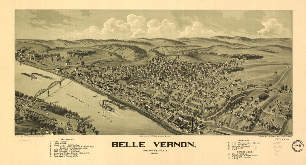 8 x 12 Reproduced Photo of Vintage Old Perspective Birds Eye View Map or Drawing of: Belle Vernon, Pennsylvania, 1902. Fowler, T. M. - Moyer, James - Fowler, T. M. 1902