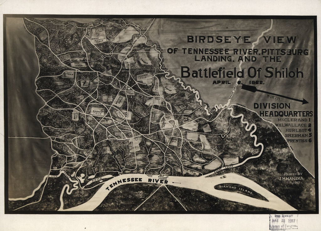 8 x 12 Reproduced Photo of Vintage Old Perspective Birds Eye View Map or Drawing of: Birdseye Tennessee River, Pittsburg Landing, and the Battlefield of Shiloh, April 6, 1862 Manska, J. M. 1917
