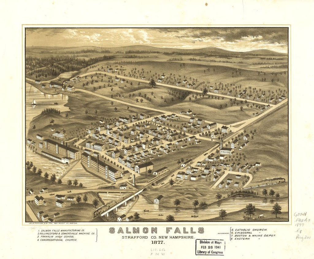 8 x 12 Reproduced Photo of Vintage Old Perspective Birds Eye View Map or Drawing of: Salmon Falls, Strafford Co., New Hampshire 1877.   Ruger, A. - Jos. Richards & Co. Lith  1877