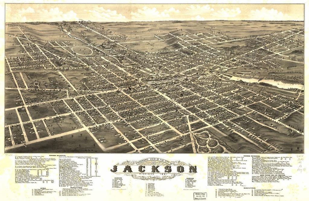8 x 12 Reproduced Photo of Vintage Old Perspective Birds Eye View Map or Drawing of: Panoramic Jackson, Michigan 1881. Ruger, A. 1881