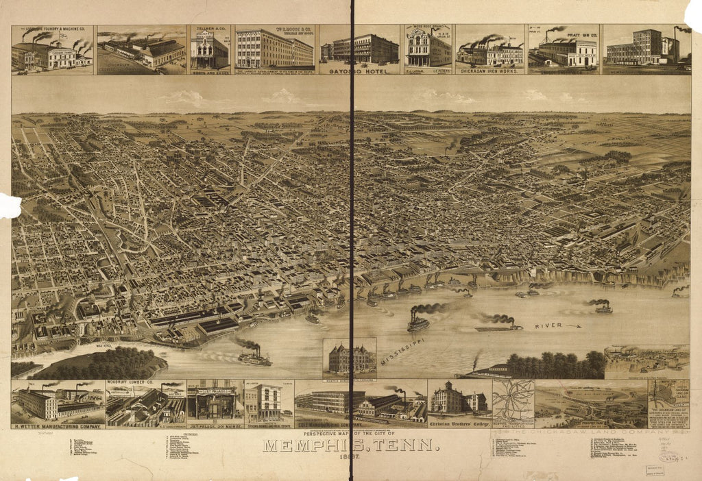 8 x 12 Reproduced Photo of Vintage Old Perspective Birds Eye View Map or Drawing of: Memphis, Tenn. 1887. Henry Wellge & Co. 1887