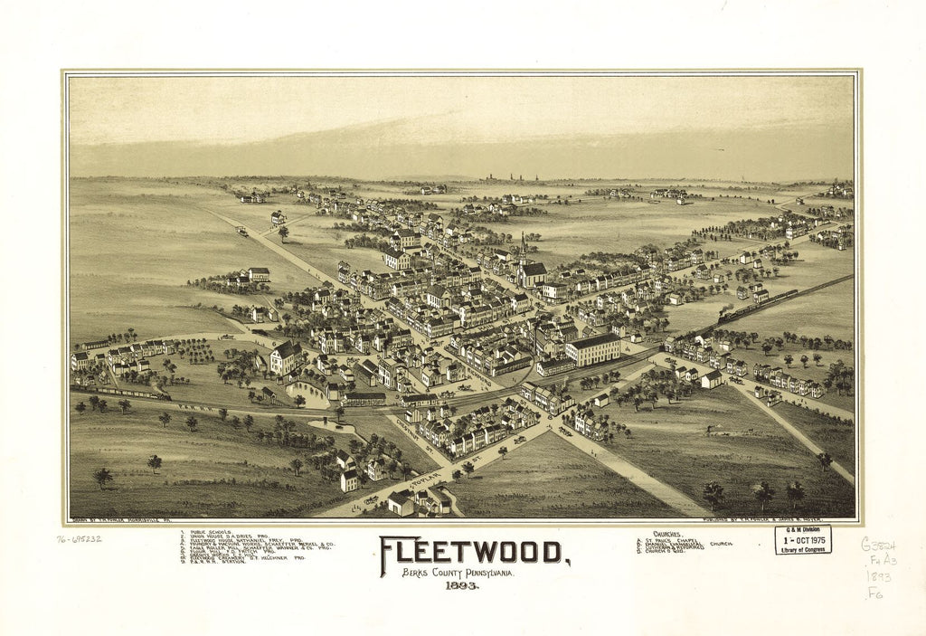 8 x 12 Reproduced Photo of Vintage Old Perspective Birds Eye View Map or Drawing of: Fleetwood, Berks County, Pennsylvania. Fowler, T. M. - Moyer, James - Fowler, T. M 1893