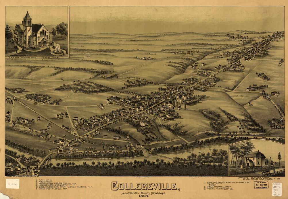 8 x 12 Reproduced Photo of Vintage Old Perspective Birds Eye View Map or Drawing of: Collegeville, Montgomery County, Pennsylvania 1894 Fowler, T. M. - Moyer, James - Fowler, T. M. 1894