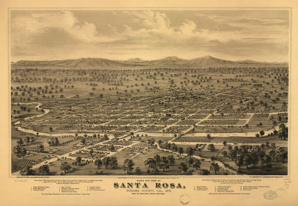 8 x 12 Reproduced Photo of Vintage Old Perspective Birds Eye View Map or Drawing of: Santa Rosa, Sonoma County, Cal., 1876. Glover, E. S. (Eli Sheldon), 1844-1920. 1876