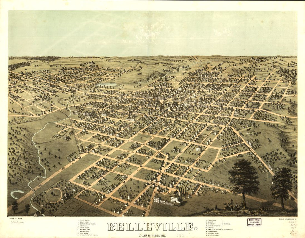 8 x 12 Reproduced Photo of Vintage Old Perspective Birds Eye View Map or Drawing of: Belleville, St. Clair Co., Illinois 1867. Ruger, A. 1867