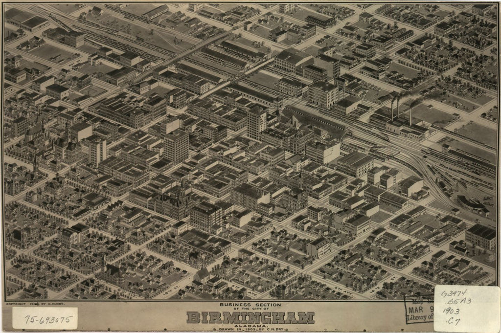 8 x 12 Reproduced Photo of Vintage Old Perspective Birds Eye View Map or Drawing of: Business section of Birmingham, Alabama. Dry, Camille N. c1904