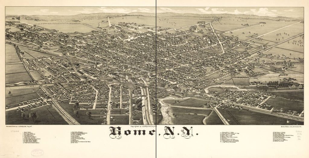 8 x 12 Reproduced Photo of Vintage Old Perspective Birds Eye View Map or Drawing of: Rome, N.Y. Burleigh, L. R. (Lucien R.) - Beck & Pauli - Burleigh, L. R. 1886