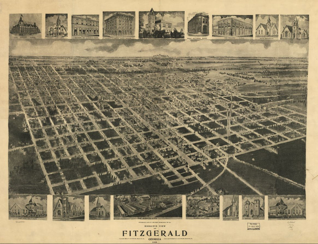 8 x 12 Reproduced Photo of Vintage Old Perspective Birds Eye View Map or Drawing of: Fitzgerald, Georgia 1908. Fowler, T. M. c1908