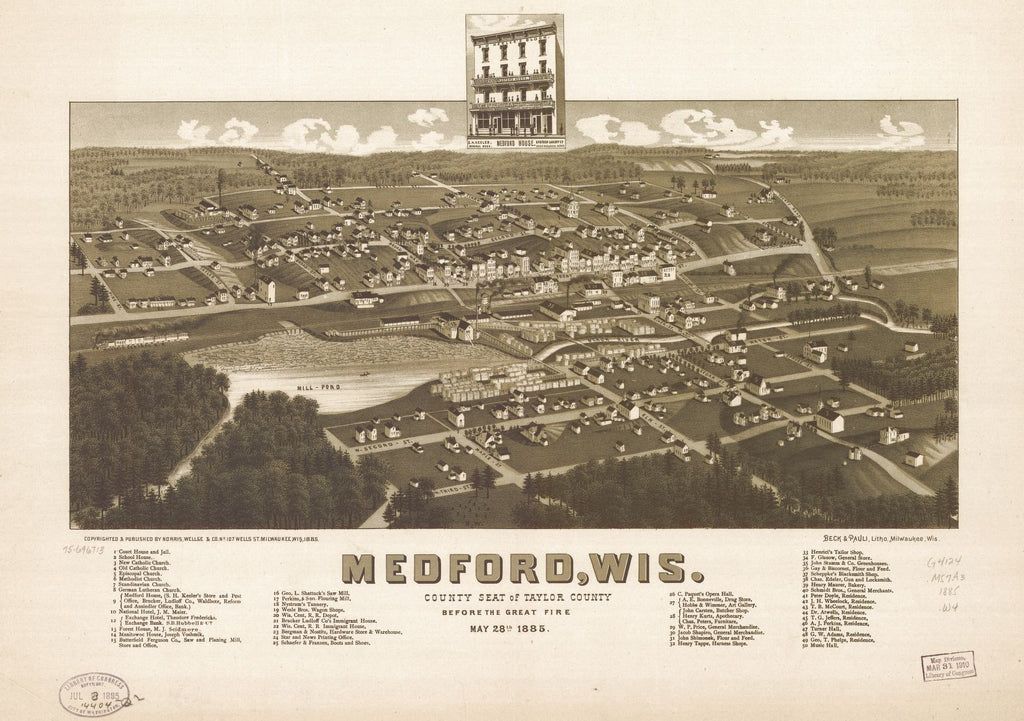 8 x 12 Reproduced Photo of Vintage Old Perspective Birds Eye View Map or Drawing of: Medford, Wis., county seat of Taylor County before the great fire May 28th 1885. Wellge, H. (Henry) 1885
