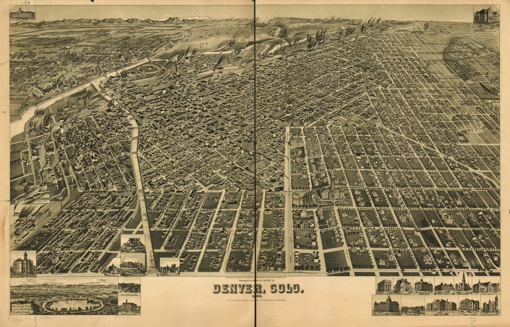 8 x 12 Reproduced Photo of Vintage Old Perspective Birds Eye View Map or Drawing of: Denver, Colo. 1889. Wellge, H. (Henry) 1889