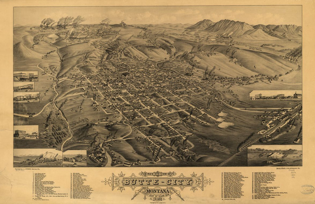 8 x 12 Reproduced Photo of Vintage Old Perspective Birds Eye View Map or Drawing of: Butte-City, Montana, county seat of Silver Bow Co., 1884 Wellge, H. (Henry) 1884
