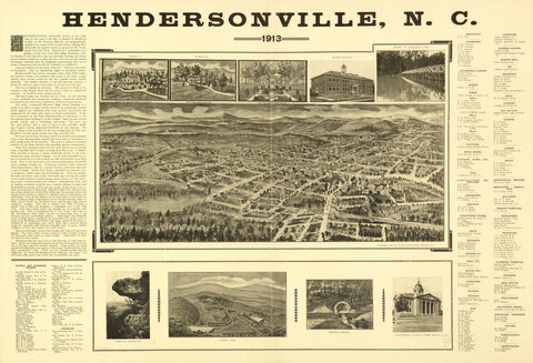 8 x 12 Reproduced Photo of Vintage Old Perspective Birds Eye View Map or Drawing of: Hendersonville, N.C. 1913. [Fowler, T. M. (Thaddeus Mortimer)] 1842-1922.Fowler & Browning. c1912.