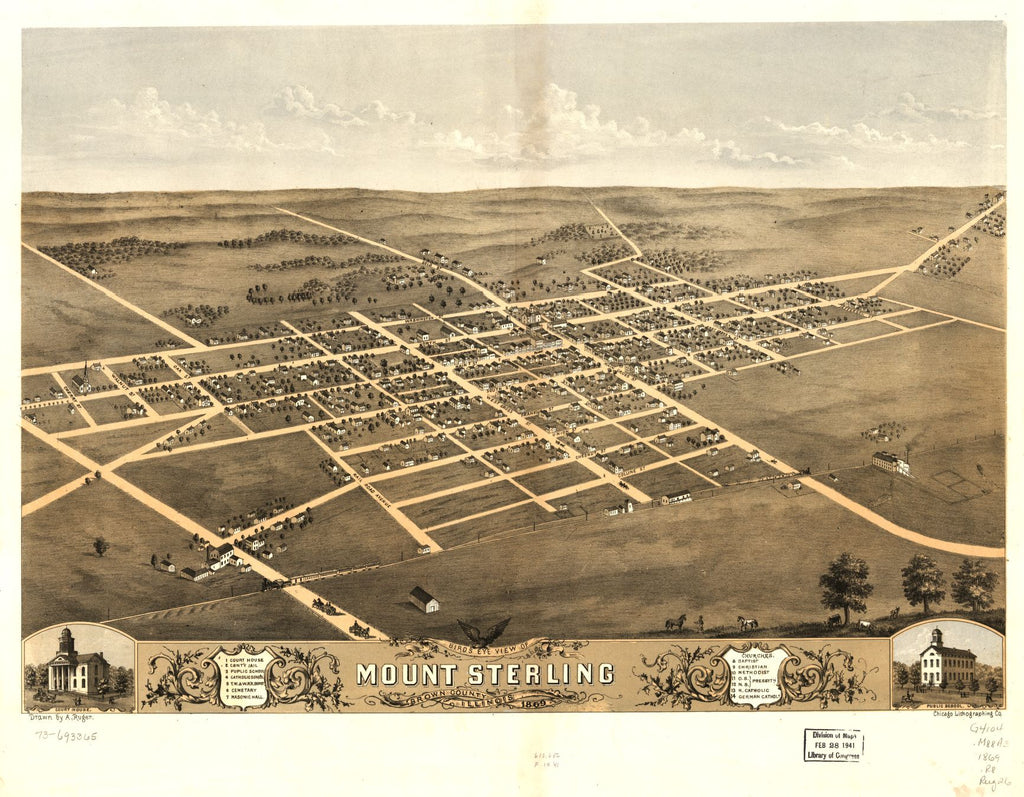 8 x 12 Reproduced Photo of Vintage Old Perspective Birds Eye View Map or Drawing of: Mount Sterling, Brown County, Illinois 1869. Ruger, A. 1869