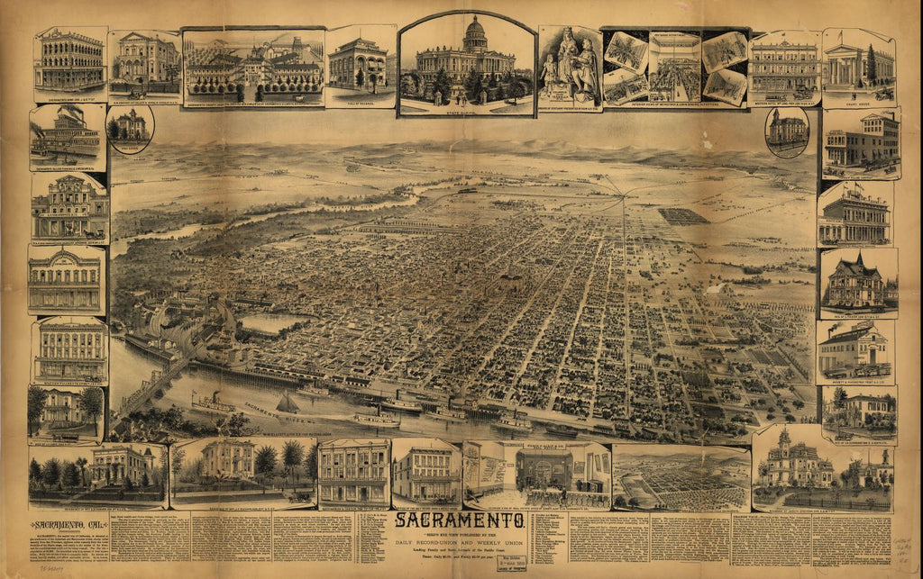 8 x 12 Reproduced Photo of Vintage Old Perspective Birds Eye View Map or Drawing of: Sacramento. W.W. Elliott & Co. 189
