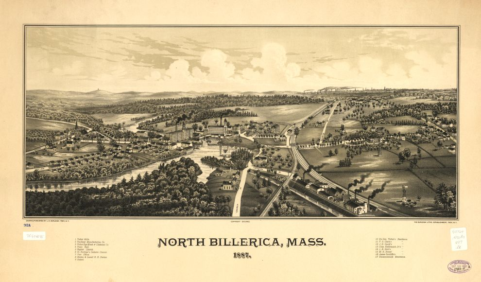 8 x 12 Reproduced Photo of Vintage Old Perspective Birds Eye View Map or Drawing of: North Billerica, Mass. 1887.   Burleigh, L. R. (Lucien R.) - Burleigh Litho - Burleigh, L. R 1887