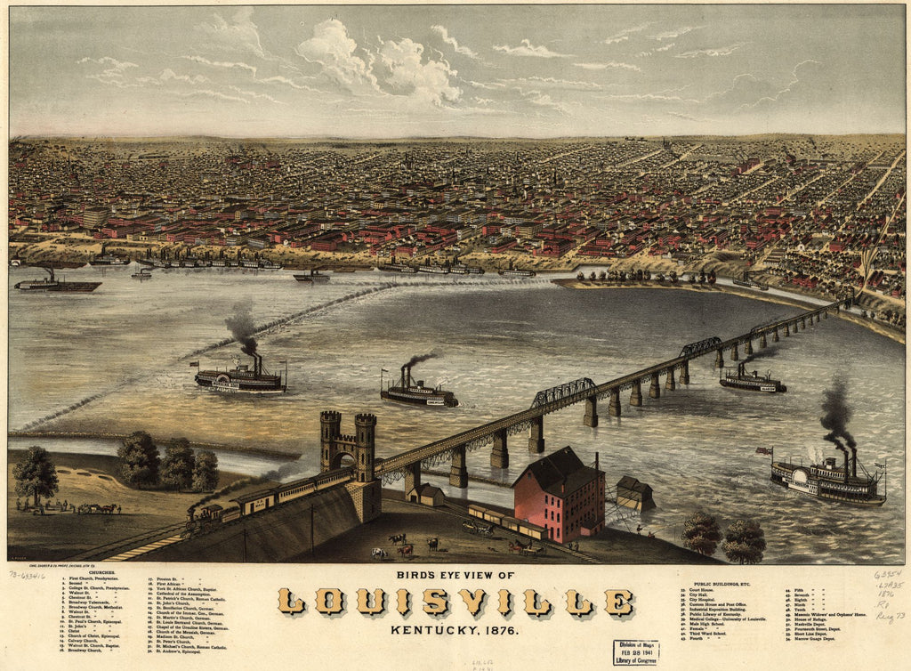 8 x 12 Reproduced Photo of Vintage Old Perspective Birds Eye View Map or Drawing of: Louisville, Kentucky 1876. Ruger, A.Charles Shober & Co.Chicago Lithographing Co. 1876