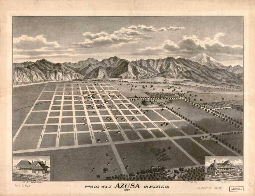 8 x 12 Reproduced Photo of Vintage Old Perspective Birds Eye View Map or Drawing of: Azusa, Los Angeles Co. Cal., 1887 Moore, E. S. 1887