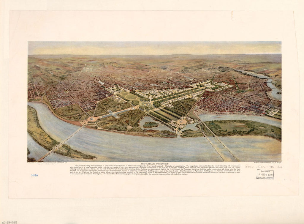 8 x 12 Reproduced Photo of Vintage Old Perspective Birds Eye View Map or Drawing of: The ultimate Washington National Geographic Society (U.S.) 1915
