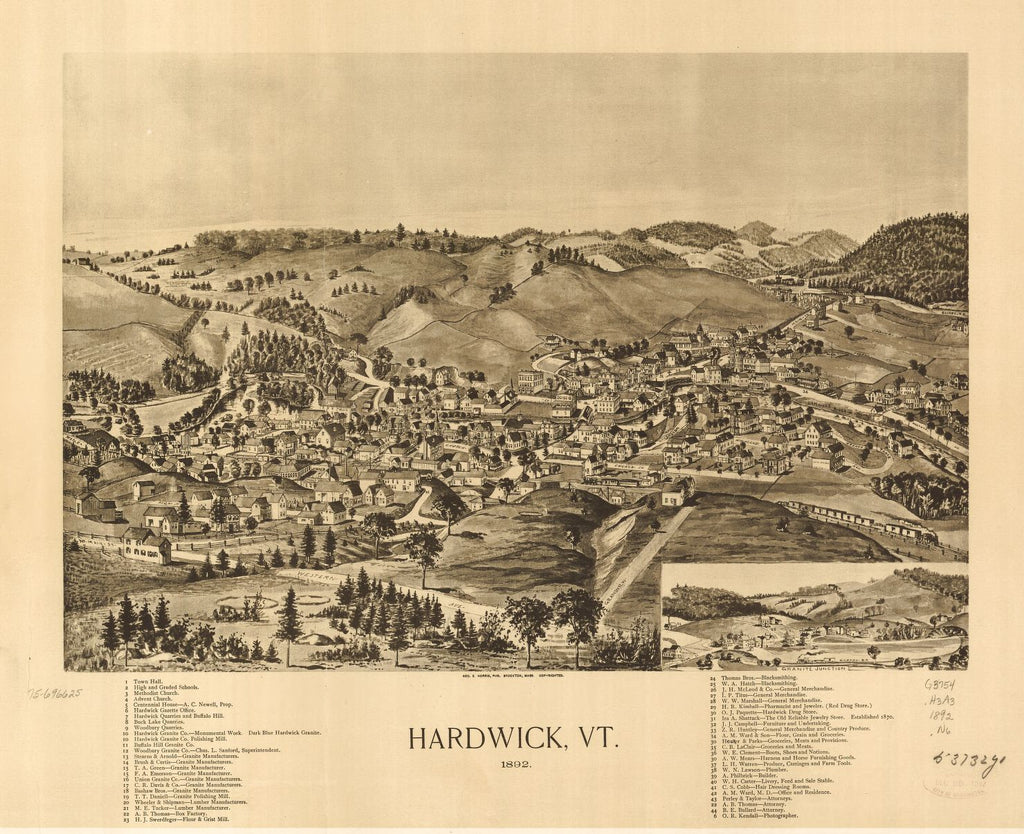 8 x 12 Reproduced Photo of Vintage Old Perspective Birds Eye View Map or Drawing of: Hardwick, Vt. 1892.  Norris, George E.  1892