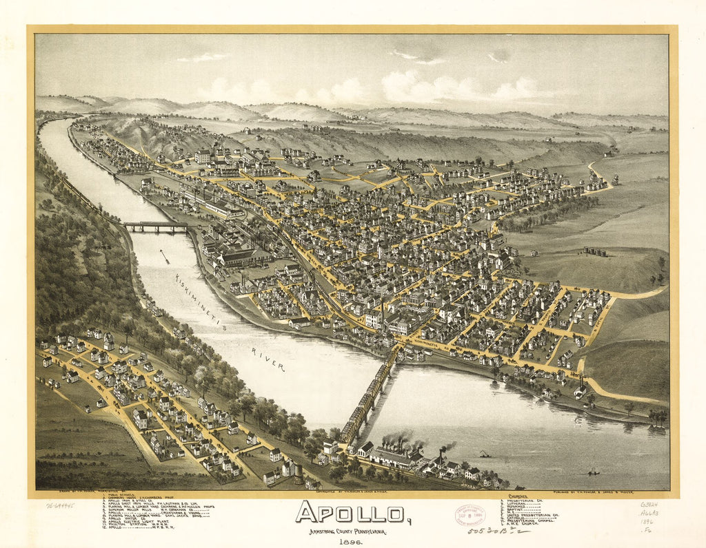 8 x 12 Reproduced Photo of Vintage Old Perspective Birds Eye View Map or Drawing of: Apollo, Armstrong County, Pennsylvania 1896. Fowler, T. M. - Moyer, James - Fowler, T. M. 1896