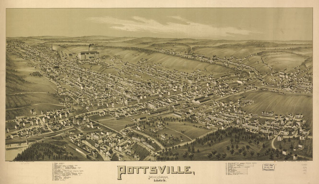 8 x 12 Reproduced Photo of Vintage Old Perspective Birds Eye View Map or Drawing of: Pottsville, Pennsylvania 1889. Fowler, T. M. - Downs, A. E. (Albert E.) - Moyer, James - Fowler, T. M. 1889